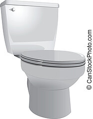 Toilet bowl to restroom with the lid down. Vector...
