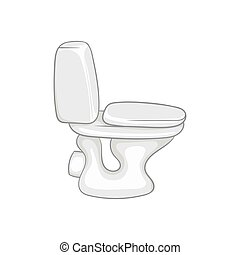 Toilet bowl icon, black monochrome style