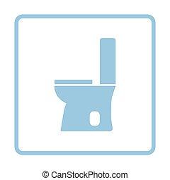 Toilet bowl icon. Blue frame design. Vector illustration.