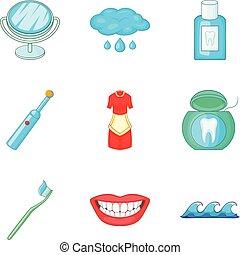 Toilet bowl icons set, cartoon style