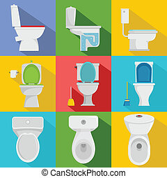 Toilet bowl icons set, flat style