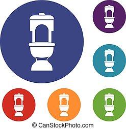 Toilet bowl icons set