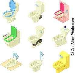 Toilet bowl icons set, isometric style
