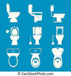 Toilet bowl icons set, simple style