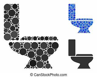 Toilet bowl Mosaic Icon of Circles - Toilet bowl composition...