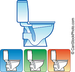 Toilet bowl on color background - Toilet bowl white on color...