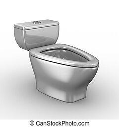 Toilet bowl on white background. Isolated 3D image
