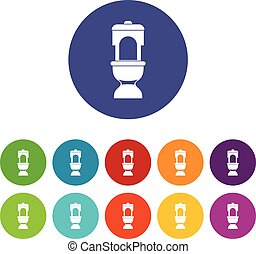 Toilet bowl set icons