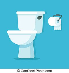 Toilet bowl with toilet paper roll. Simple flat cartoon...