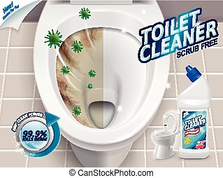 Toilet cleaner ads, before and after effect of cleaner, top...