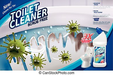 Toilet cleaner ads, green virus escaping from shining toilet...