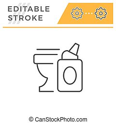 Toilet cleaner editable stroke line icon