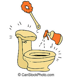 Toilet Cleaning Supplies - An image of a toilet being ...