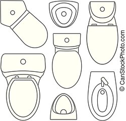 Toilet equipment top view collection for interior design. Vector contour illustration. Set of different toilet sinks types.