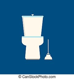 Toilet flat icon on blue background. Vector illustration.