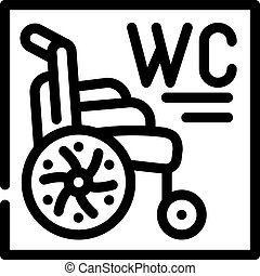 toilet for disabled line icon vector illustration