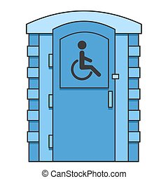 Toilet for disabled people. Mobile portable bio toilet icon. Front view. Blue plastic closet WC. Vector illustration