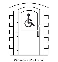 Toilet for disabled people. Mobile portable bio toilet outline icon. Front view. Blue plastic closet WC. Vector illustration
