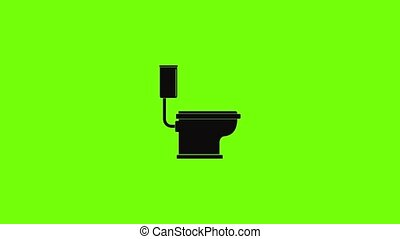 Toilet icon animation best simple object on green screen background