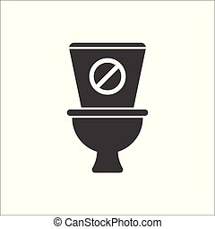 Toilet icon, Bathroom, restroom icon with not allowed sign. Toilet icon and block, forbidden, prohibit symbol