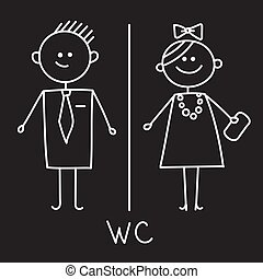 Toilet Icon. Simple Sign Of WC. Men and women WC sign for...