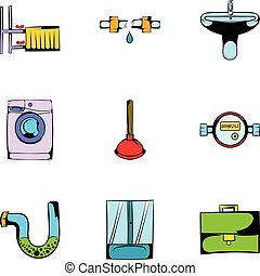 Toilet icons set, cartoon style