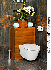 Toilet in luxury bathroom with wooden details