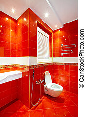 Toilet - Interior of a fashionable toilet in red-white...