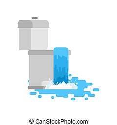 Toilet is clogged with water leaking out. Vector illustration