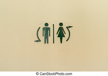 Toilet label on wall
