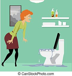 Horrified homeowner looking at a clogged overflown toilet in the bathroom, EPS 8 vector illustration