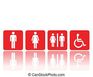 toilet, of, restroom, tekens & borden