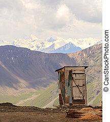 Toilet on the mountain pass. Kyrgyzstan, Tien Shan