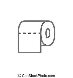 Toilet paper, bathroom line icon.
