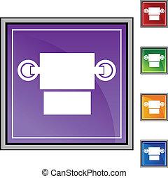 Toilet Paper Dispenser web button isolated on a background.