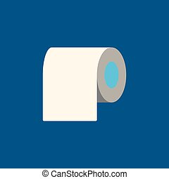 Toilet paper flat icon on blue background. Vector illustration.