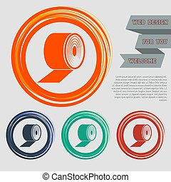 Toilet paper icon on the red, blue, green, orange buttons for your website and design with space text. Vector
