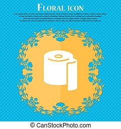 toilet paper icon sign. Floral flat design on a blue abstract background with place for your text. Vector