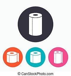 Toilet paper icons. Kitchen roll towel symbols. WC paper...