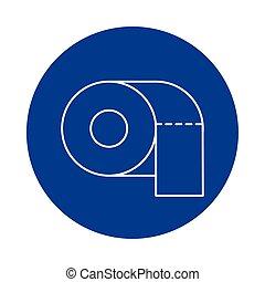 toilet paper, line block style icon