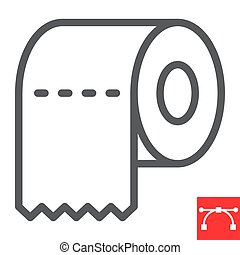 Toilet paper line icon, hygiene and disinfection, toilet paper sign vector graphics, editable stroke linear icon, eps 10.