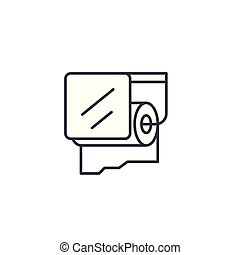 Toilet paper linear icon concept. Toilet paper line vector sign, symbol, illustration.