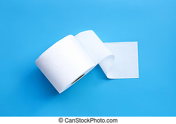 Toilet paper on blue background.