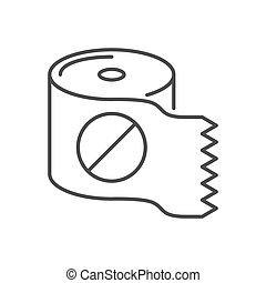 Toilet paper related vector thin line icon.