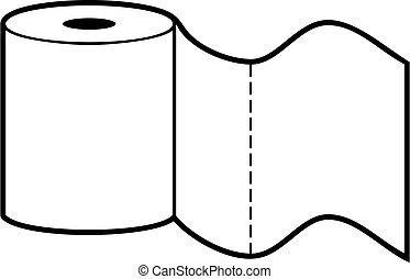 Toilet paper roll - black white vector design