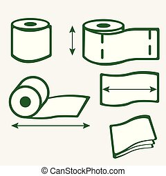 Toilet paper roll icons with arrows, conceptual vector