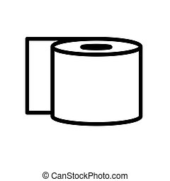 Toilet paper roll, minimal black and white outline icon. ...