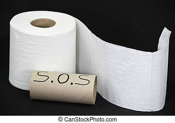 Toilet paper roll on black background