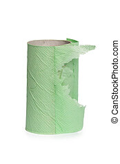 toilet paper roll on white background.