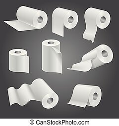 Toilet paper roll, white soft kitchen towels vector set -...